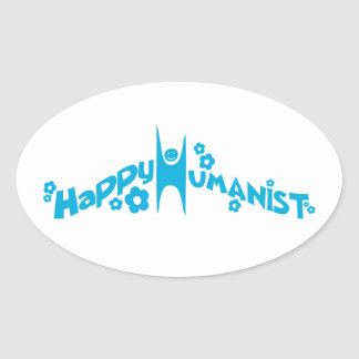 Blue Groovy Happy Humanist Oval Sticker