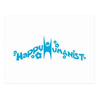 Blue Groovy Happy Humanist Postcard