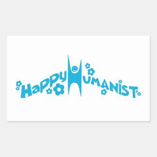 Blue Groovy Happy Humanist Rectangular Sticker