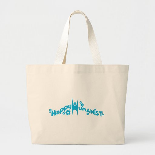 Blue Groovy Happy Humanist Tote Bags