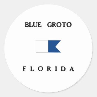 Blue Groto Florida Alpha Dive Flag Round Sticker
