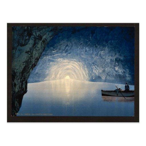 Blue grotto, Capri, Island of, Italy vintage Photo Postcard