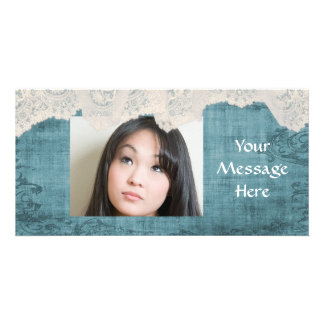 blue grunge and cream lace personalize photo card