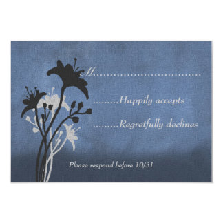Blue Grunge and Silhouetted Wildflowers RSVP Card