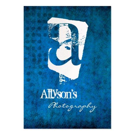 Blue Grunge Background Monogram Business Cards