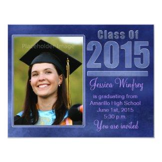 "Blue Grunge Class of 2015 Graduation Photo 4.25"" X 5.5"" Invitation Card"