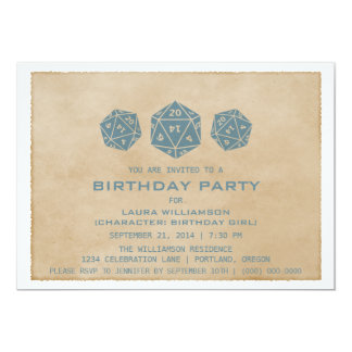 Blue Grunge D20 Dice Gamer Birthday Party Invite