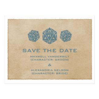 Blue Grunge D20 Dice Gamer Save the Date Postcard