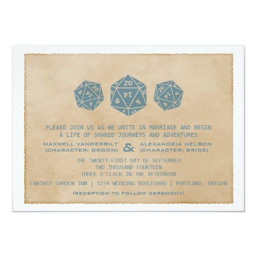 Blue Grunge D20 Dice Gamer Wedding Invitation