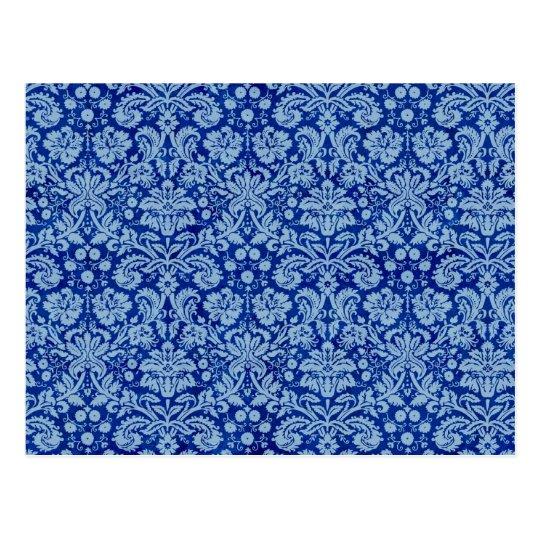 Blue Grunge Damask Pattern Postcard
