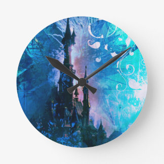 Blue Grunge Fairytale Fantasy Castle Clock