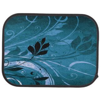 Blue Grunge Floral Car Mat
