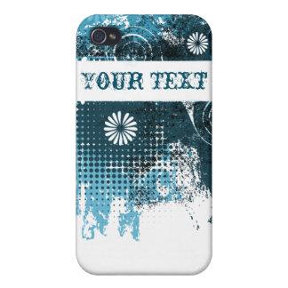 Blue Grunge Floral Case For iPhone 4