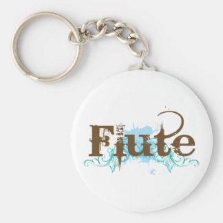 Blue Grunge Flute Music Design Basic Round Button Keychain