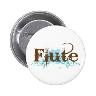 Blue Grunge Flute Music Design 2 Inch Round Button