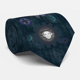 Blue Grunge Gears Photo Frames Tie