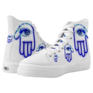 Blue Grunge Hamsa High Hi  Tops Printed Shoes