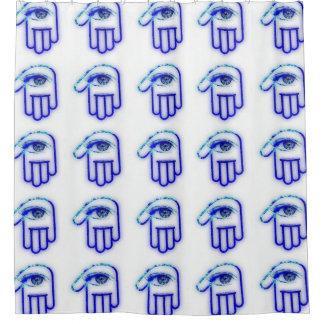 Blue Grunge Hamsa Shower Curtain