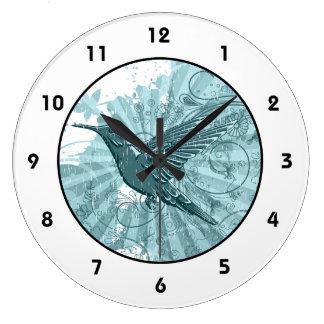 Blue Grunge Hummingbird Large Clock