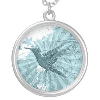 Blue Grunge Hummingbird Necklace