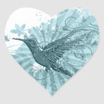 Blue Grunge Hummingbird Stickers