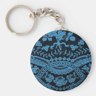 Blue Grunge Lace Basic Round Button Keychain