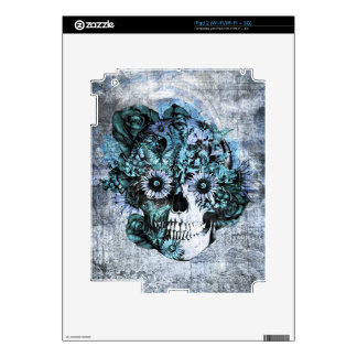 Blue grunge ohm skull with roses decals for iPad 2