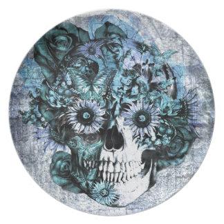 Blue grunge ohm skull with roses melamine plate