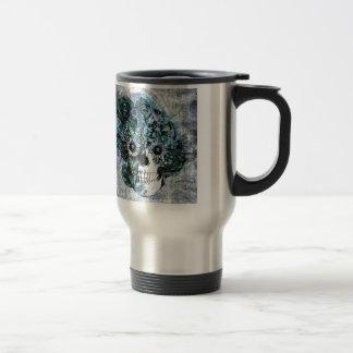 Blue grunge ohm skull with roses travel mug