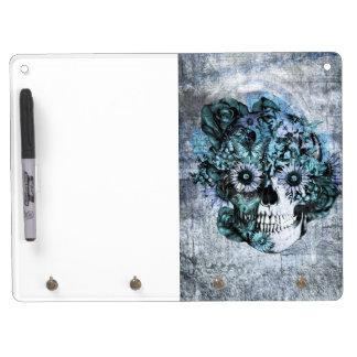 Blue grunge ohm sunflower skull dry erase whiteboards