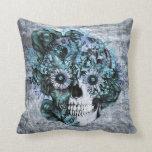 Blue grunge ohm sunflower skull pillow