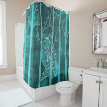 Blue Grunge Owl Shower Curtain