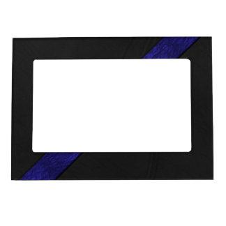 Blue grunge paper stripe black leather magnetic frames