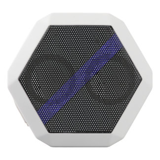 Blue grunge paper stripe black leather white bluetooth speaker