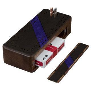 Blue grunge paper stripe black leather wood cribbage board