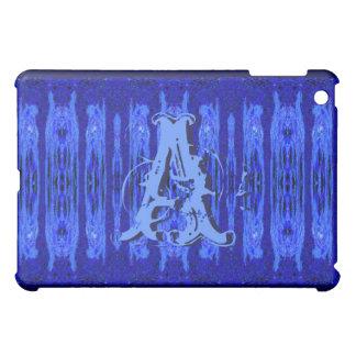 Blue Grunge Pattern Monogrammed Ipad Case