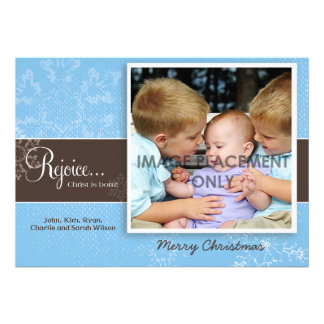 Blue Grunge Snowflake Photo Card Custom Invite