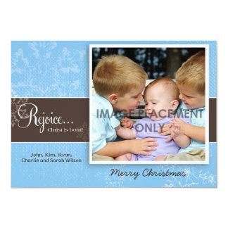 "Blue Grunge Snowflake Photo Card 5"" X 7"" Invitation Card"