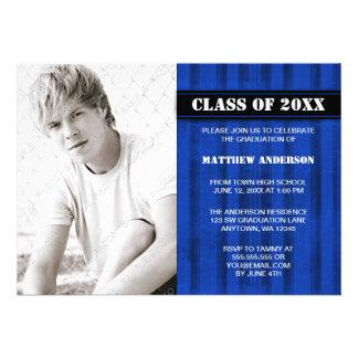 Blue Grunge Stripe Photo Graduation Announcement