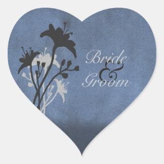 Blue Grunge Wildflower Sihouettes Wedding Stickers