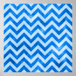Blue Grunge Zigzag Poster