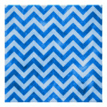 Blue Grunge Zigzag Posters