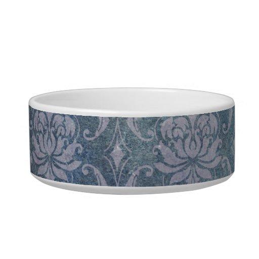 Blue Grungy Damask Cat Bowls