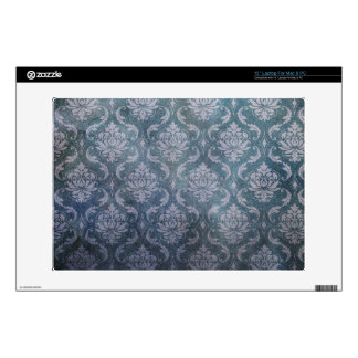 """Blue Grungy Damask 13"""" Laptop Decal"""