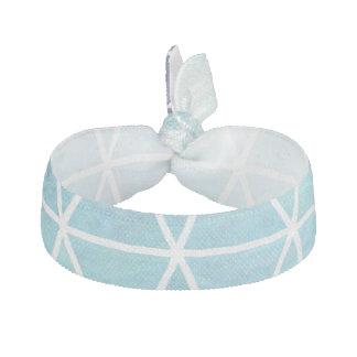 Blue Grungy Geometric Triangle Design Ribbon Hair Ties