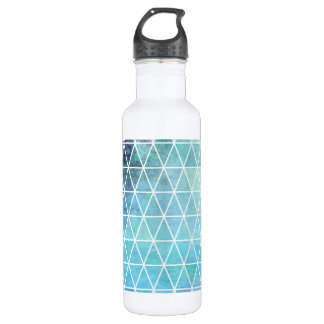 Blue Grungy Geometric Triangle Design Stainless Steel Water Bottle