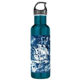 Blue grungy pirate ship design bottle