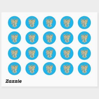 Blue Guardian Angel Art Decal Stickers
