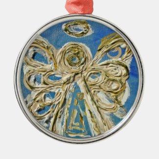 Blue Guardian Angel Art Holiday Ornament