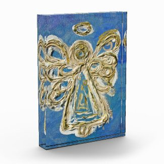 Blue Guardian Angel Art Paperweight Acrylic Award